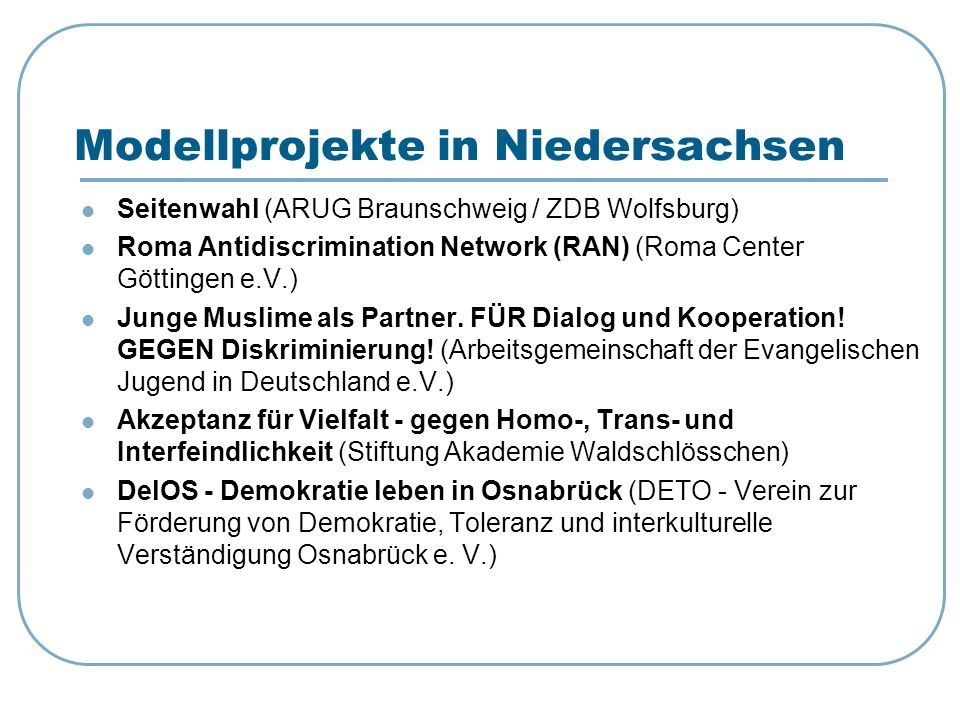Modellprojekte in Niedersachsen