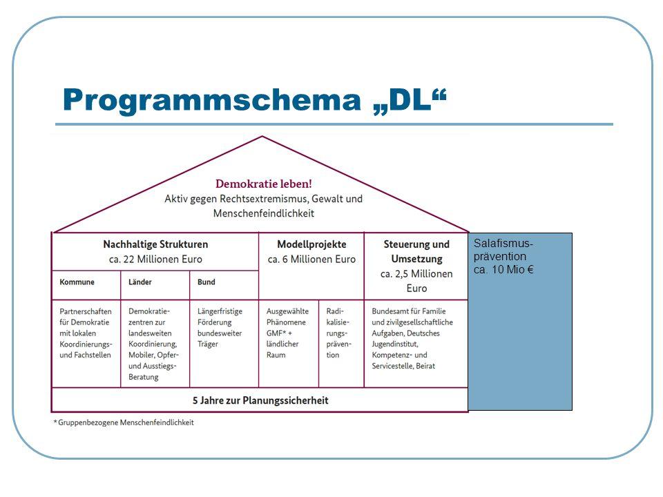 """Programmschema """"DL Salafismus-prävention ca. 10 Mio €"""