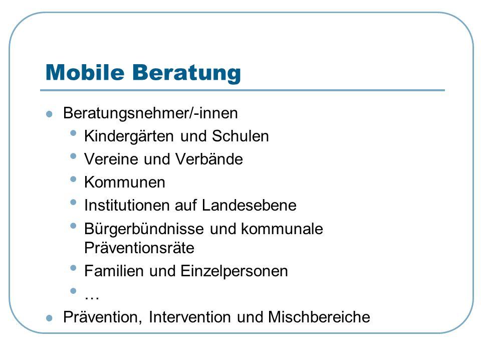 Mobile Beratung Beratungsnehmer/-innen Kindergärten und Schulen