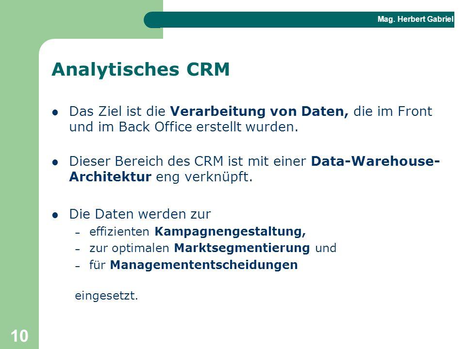 Analytisches CRM Das Ziel ist die Verarbeitung von Daten, die im Front und im Back Office erstellt wurden.