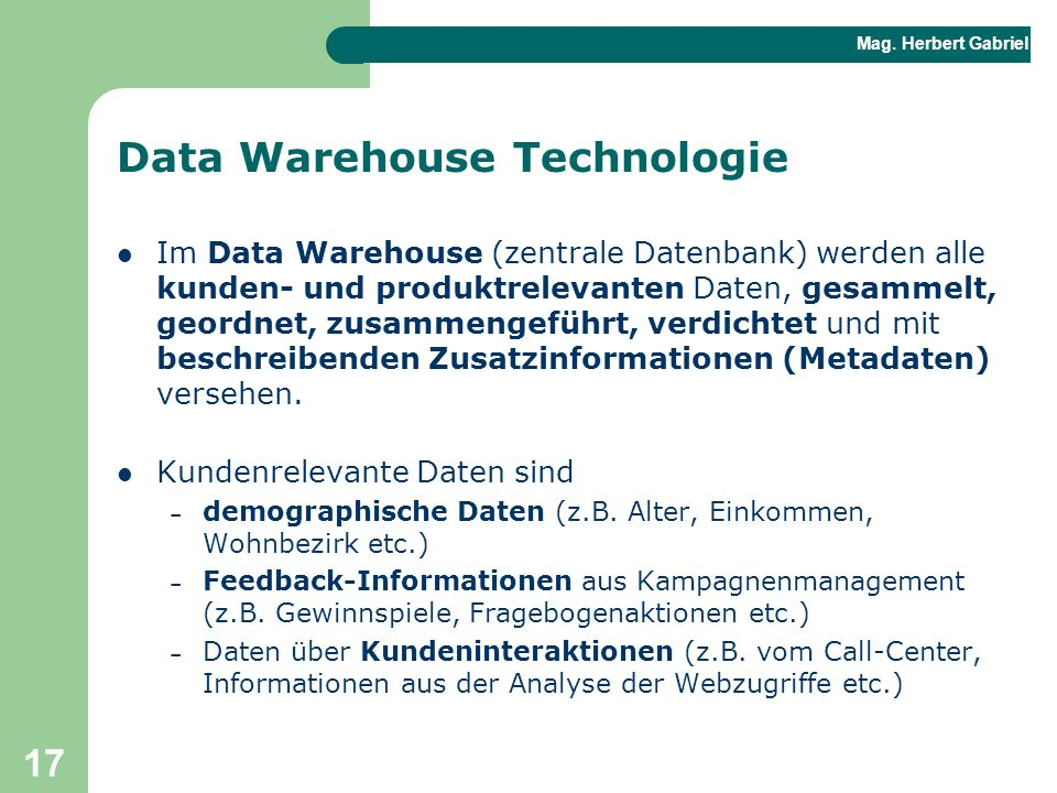 Data Warehouse Technologie
