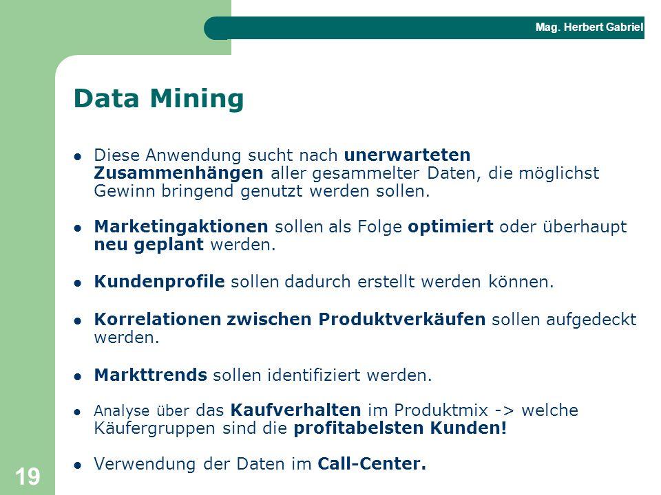 Data Mining Diese Anwendung sucht nach unerwarteten Zusammenhängen aller gesammelter Daten, die möglichst Gewinn bringend genutzt werden sollen.