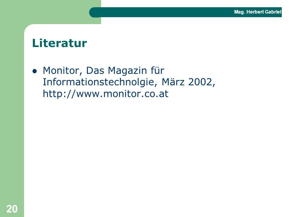 Literatur Monitor, Das Magazin für Informationstechnolgie, März 2002, http://www.monitor.co.at