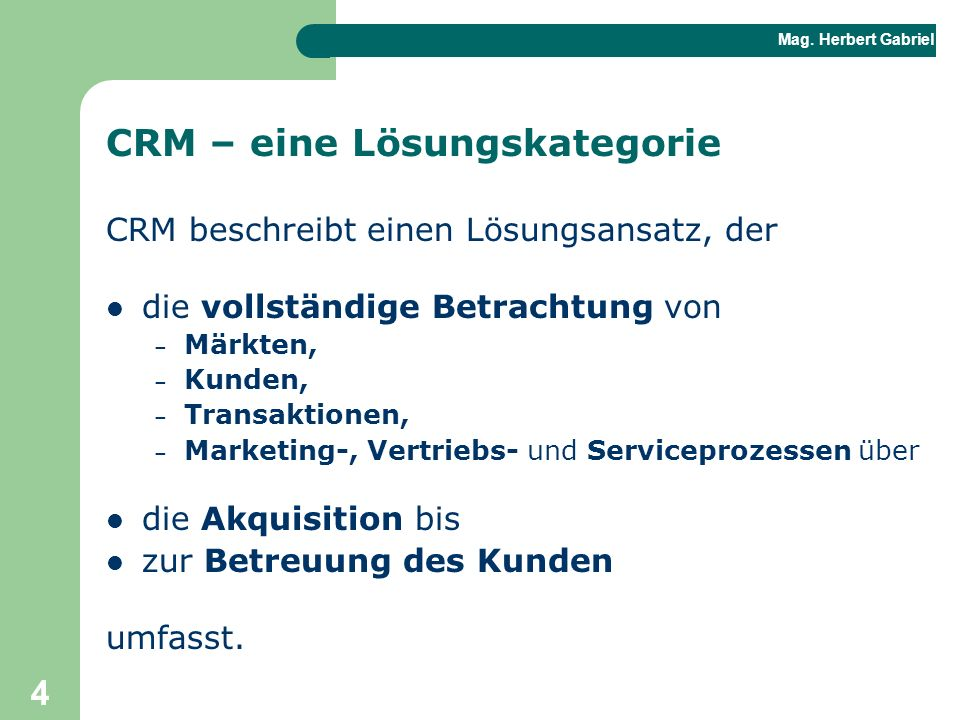 CRM – eine Lösungskategorie