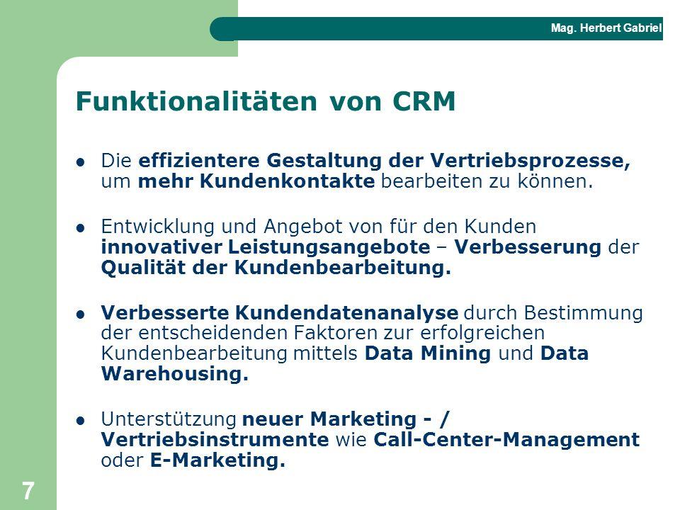 Funktionalitäten von CRM