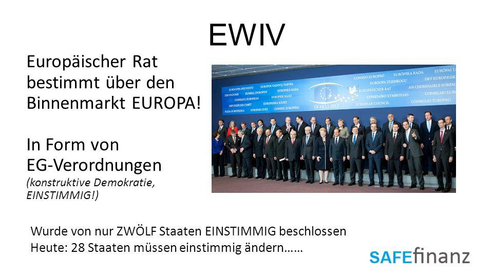EWIV Europäischer Rat. bestimmt über den Binnenmarkt EUROPA! In Form von. EG-Verordnungen. (konstruktive Demokratie,