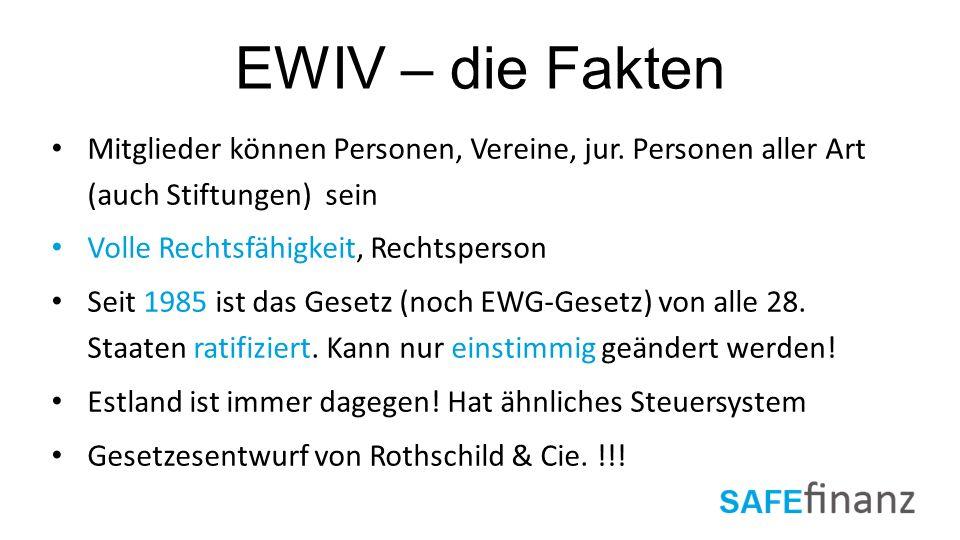 EWIV – die Fakten Mitglieder können Personen, Vereine, jur. Personen aller Art (auch Stiftungen) sein.