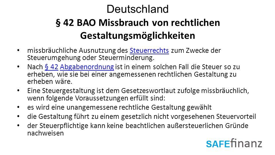 § 42 BAO Missbrauch von rechtlichen Gestaltungsmöglichkeiten