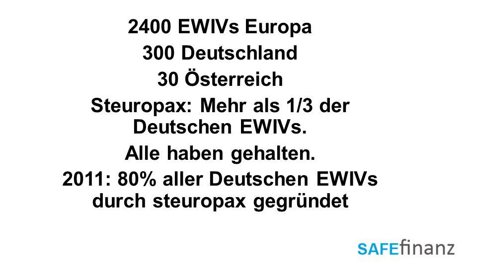 2400 EWIVs Europa 300 Deutschland 30 Österreich Steuropax: Mehr als 1/3 der Deutschen EWIVs.