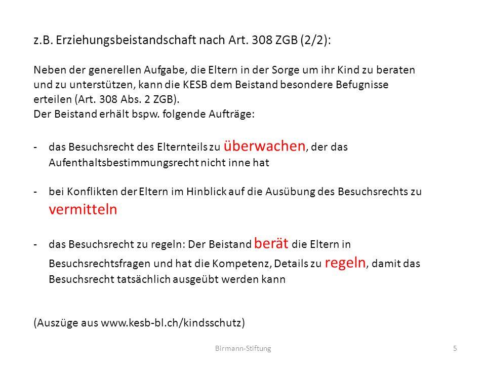 z.B. Erziehungsbeistandschaft nach Art. 308 ZGB (2/2):