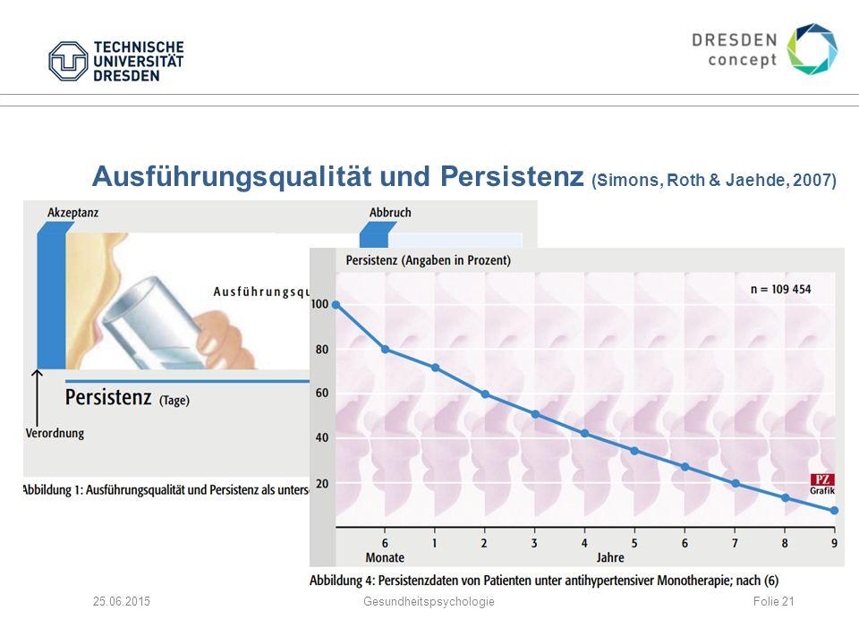 Ausführungsqualität und Persistenz (Simons, Roth & Jaehde, 2007)