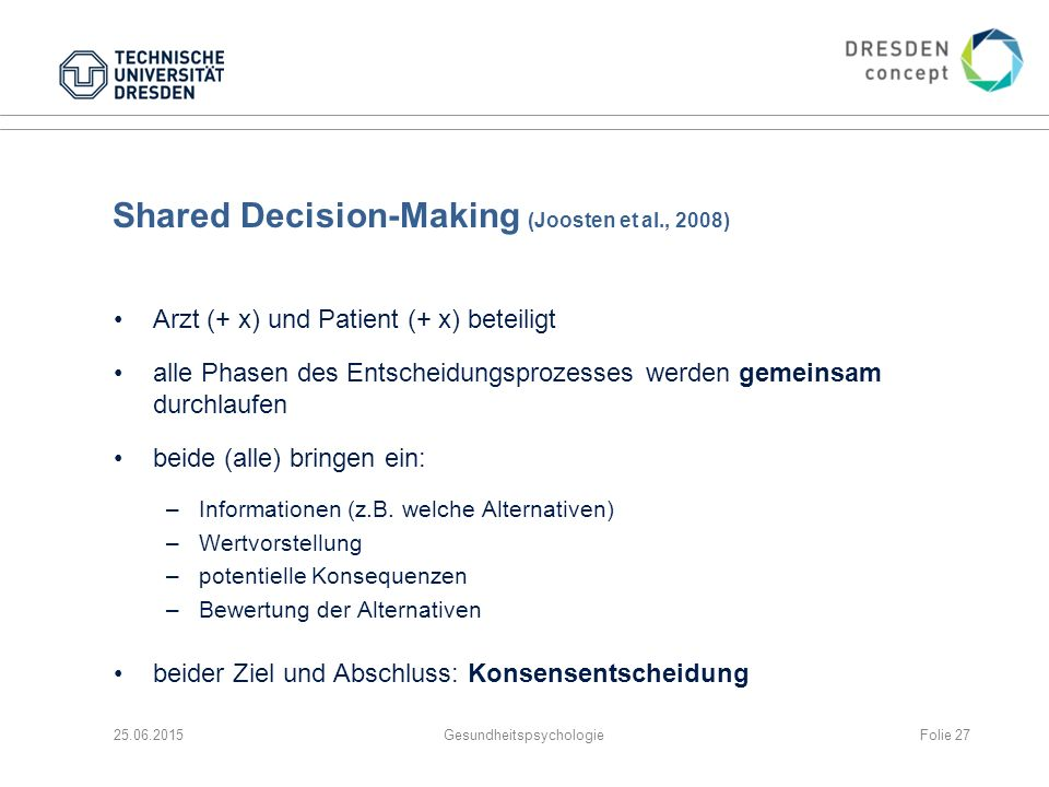 Shared Decision-Making (Joosten et al., 2008)