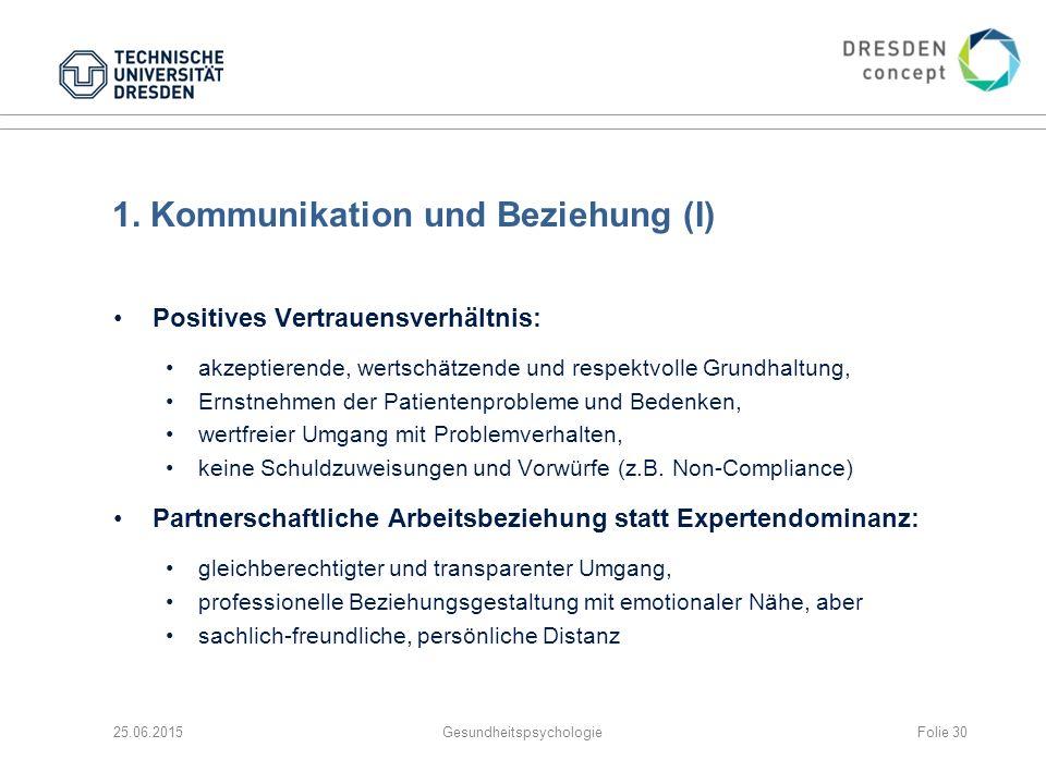 1. Kommunikation und Beziehung (I)