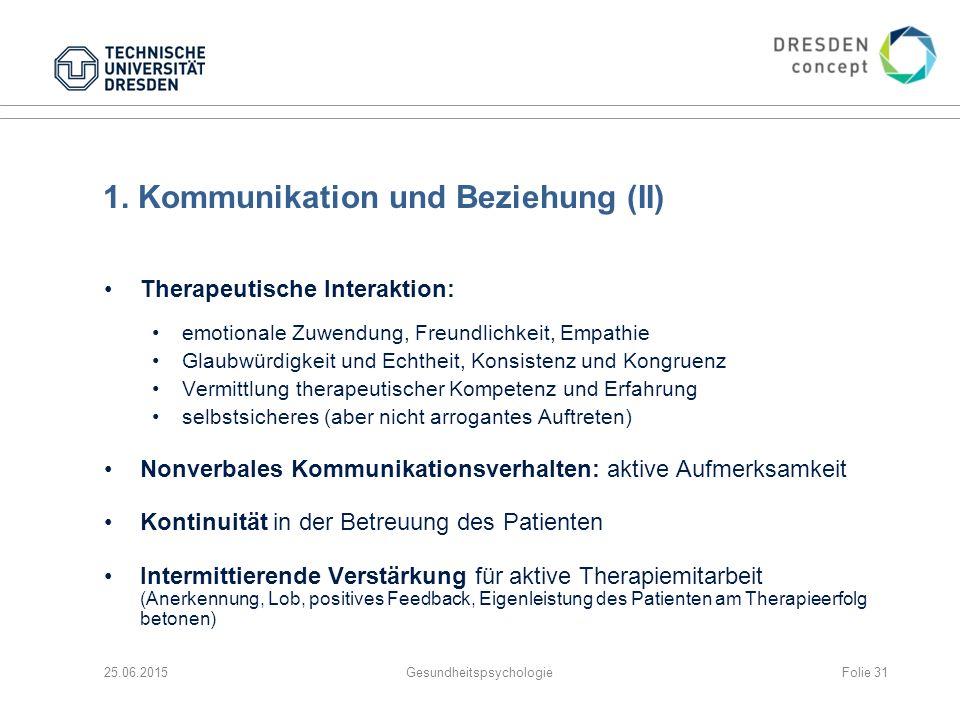 1. Kommunikation und Beziehung (II)