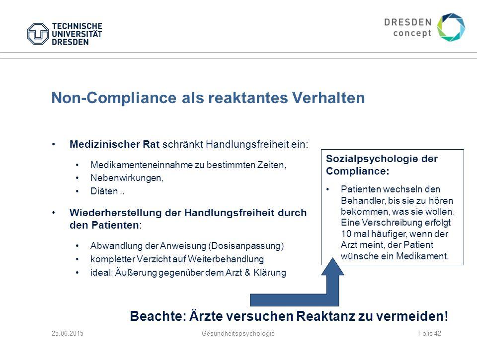 Non-Compliance als reaktantes Verhalten