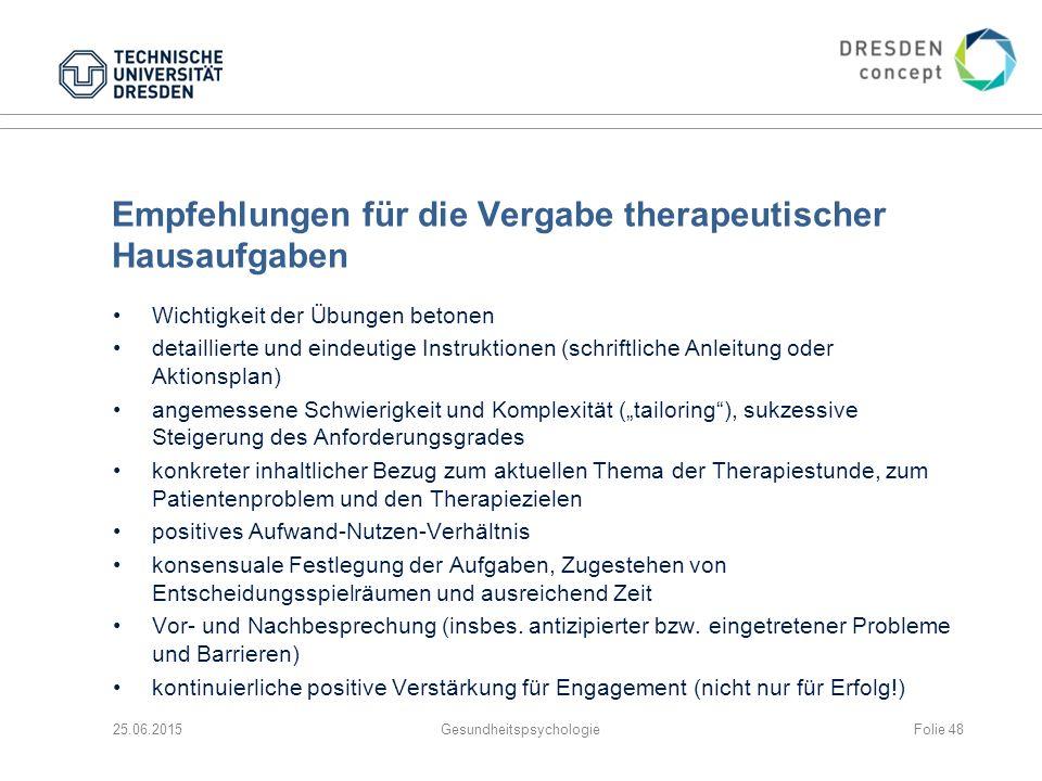 Empfehlungen für die Vergabe therapeutischer Hausaufgaben