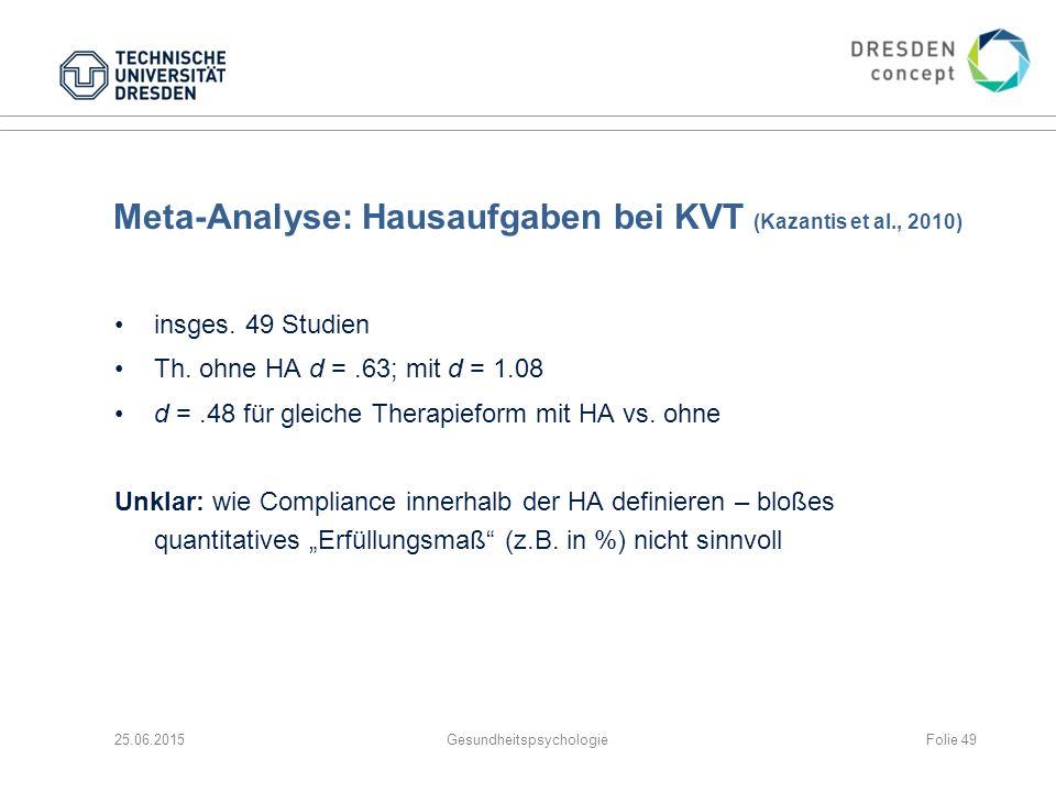 Meta-Analyse: Hausaufgaben bei KVT (Kazantis et al., 2010)