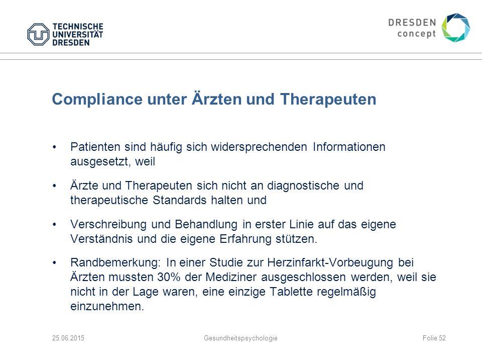 Compliance unter Ärzten und Therapeuten
