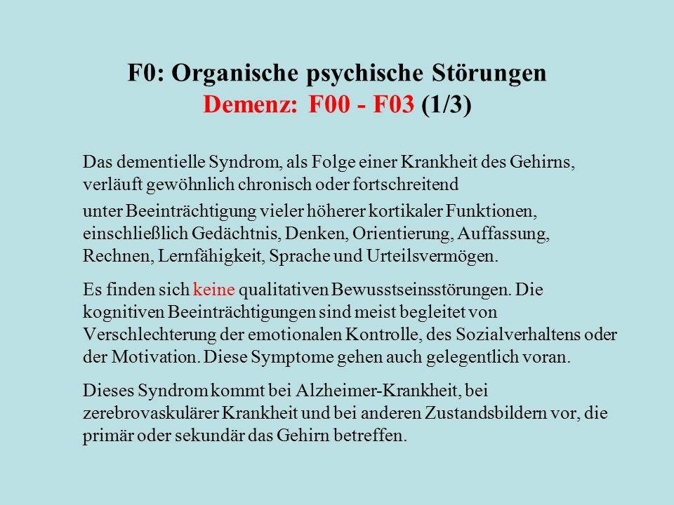 F0: Organische psychische Störungen Demenz: F00 - F03 (1/3)