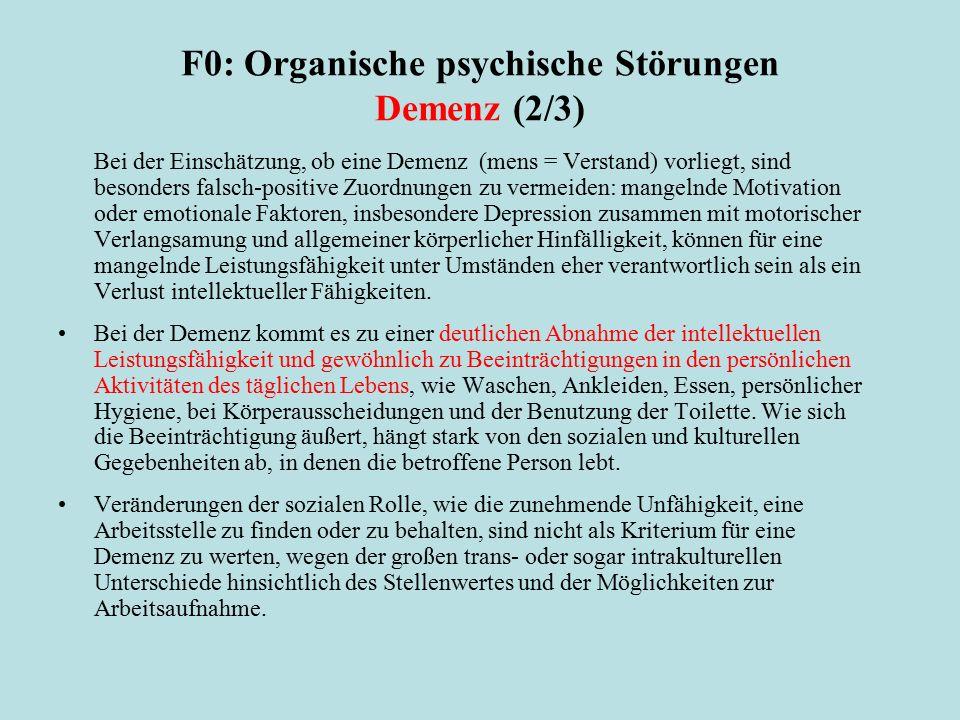 F0: Organische psychische Störungen Demenz (2/3)