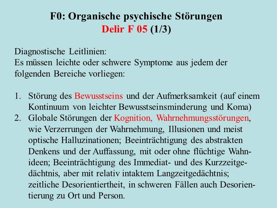 F0: Organische psychische Störungen Delir F 05 (1/3)