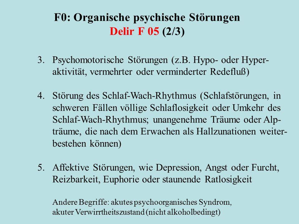 F0: Organische psychische Störungen Delir F 05 (2/3)