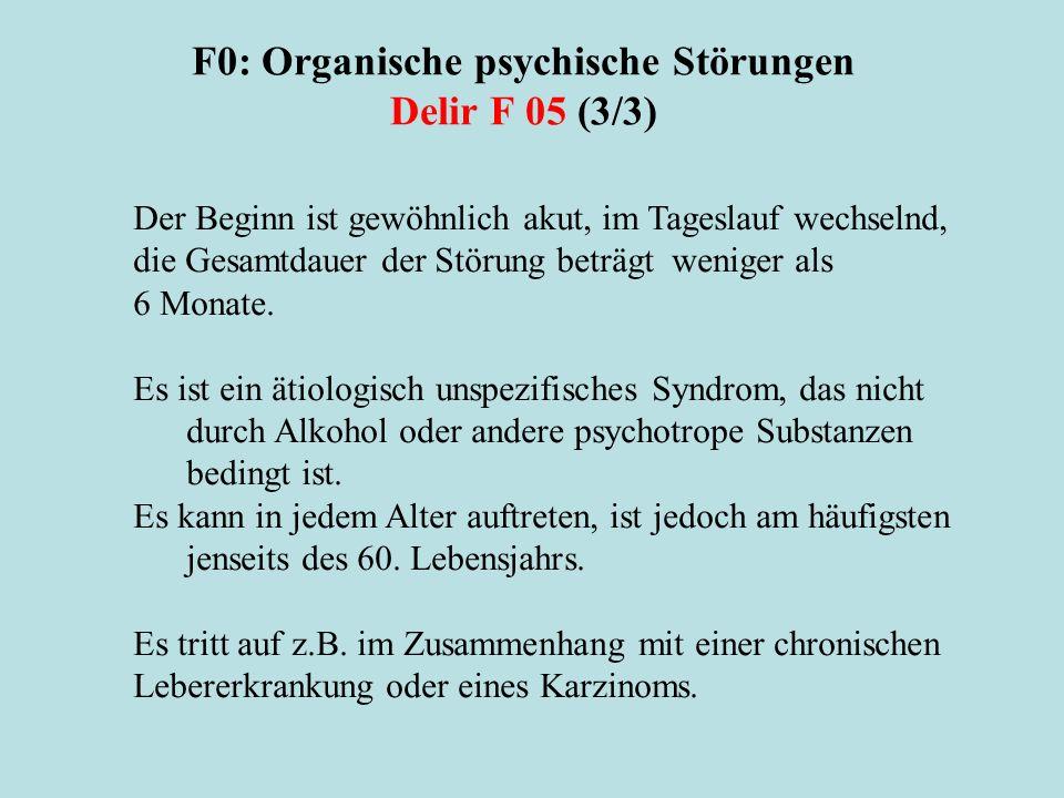 F0: Organische psychische Störungen Delir F 05 (3/3)