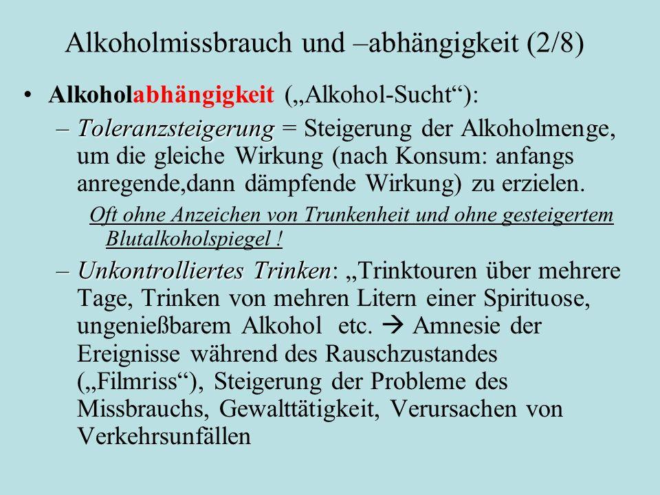 Alkoholmissbrauch und –abhängigkeit (2/8)
