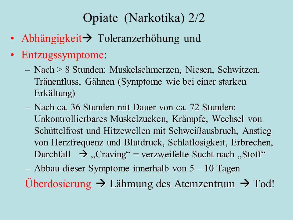 Opiate (Narkotika) 2/2 Abhängigkeit Toleranzerhöhung und