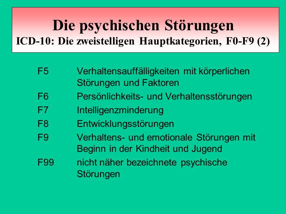 Die psychischen Störungen ICD-10: Die zweistelligen Hauptkategorien, F0-F9 (2)