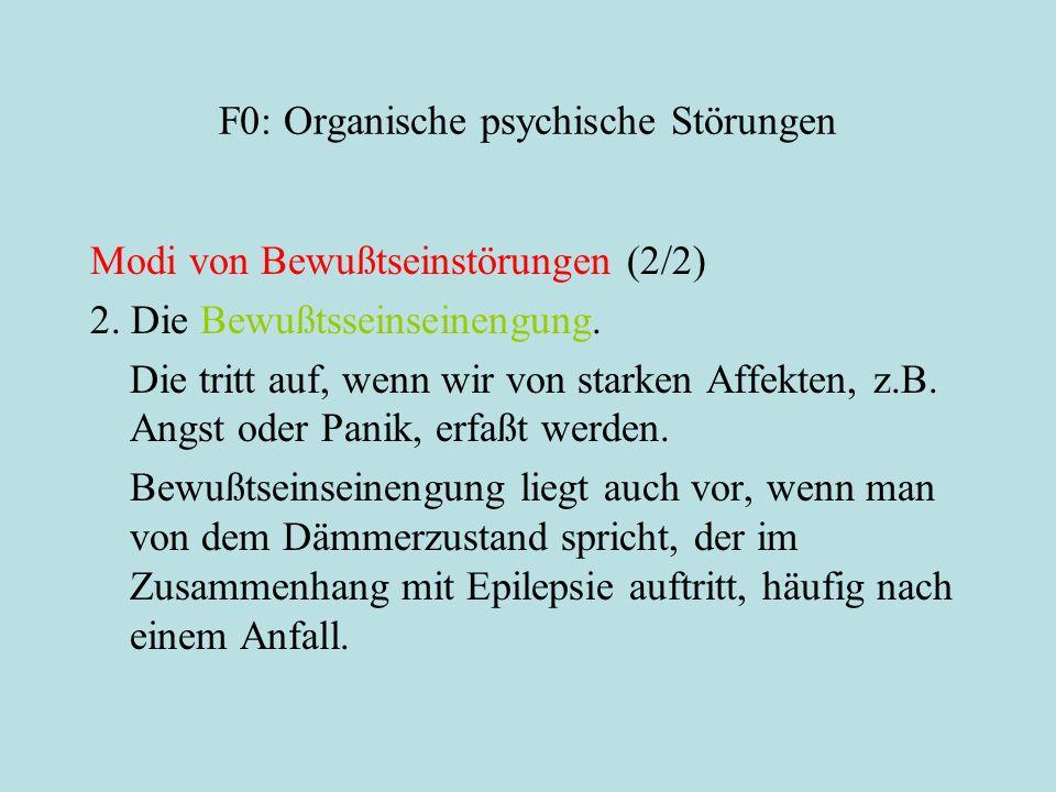F0: Organische psychische Störungen