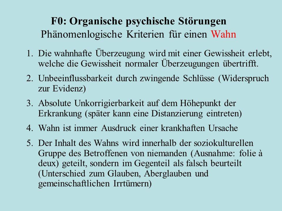 F0: Organische psychische Störungen Phänomenlogische Kriterien für einen Wahn