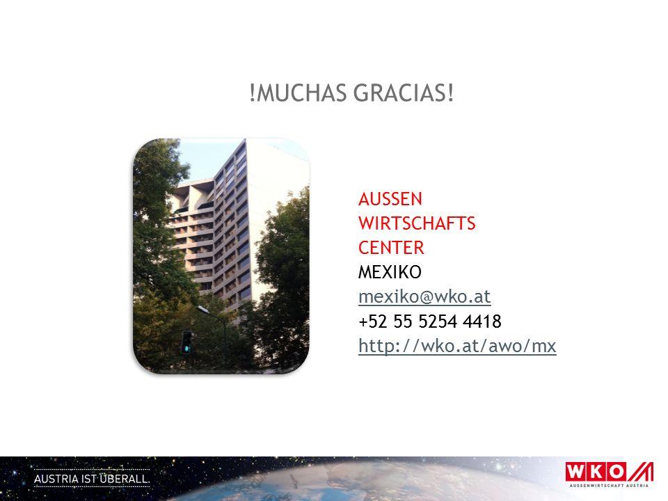 !MUCHAS GRACIAS! AUSSEN WIRTSCHAFTS CENTER MEXIKO mexiko@wko.at