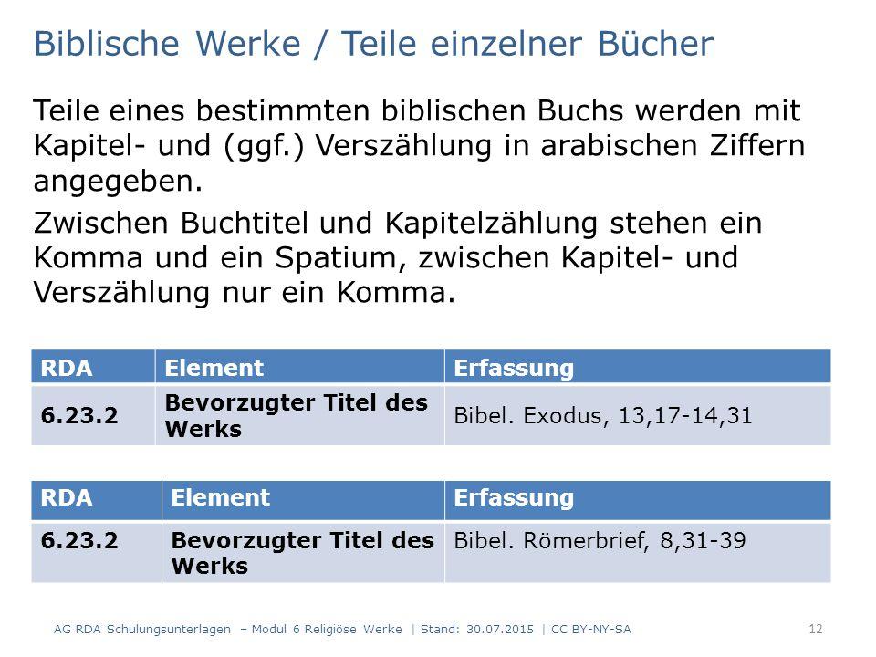 Biblische Werke / Teile einzelner Bücher