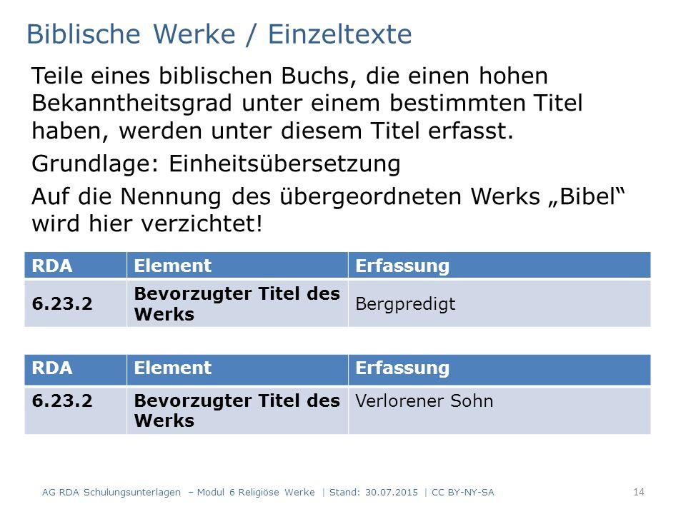 Biblische Werke / Einzeltexte
