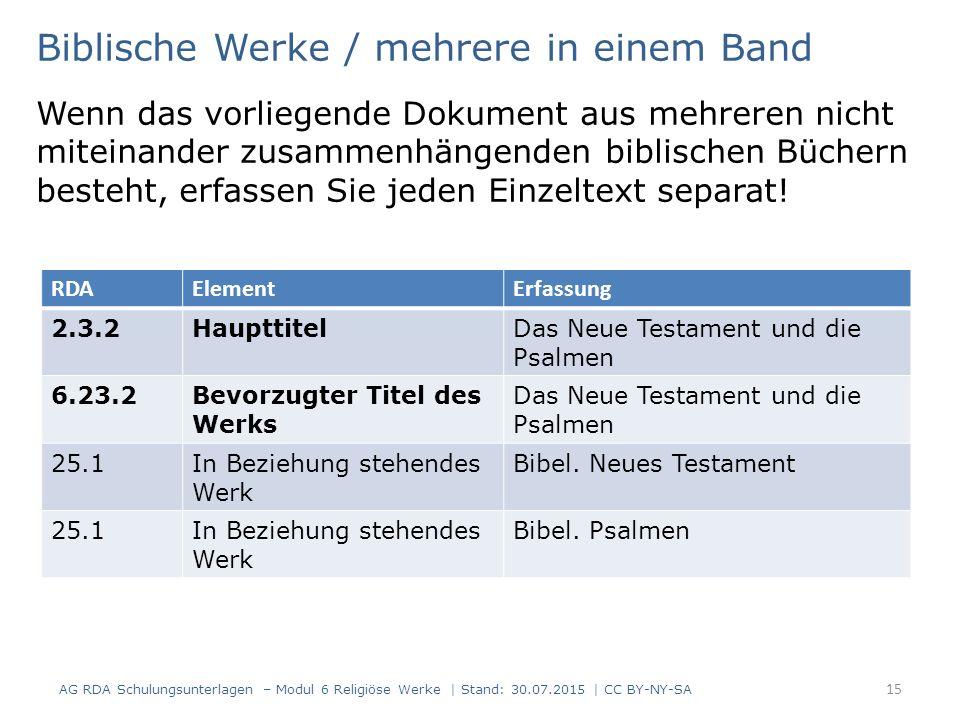 Biblische Werke / mehrere in einem Band