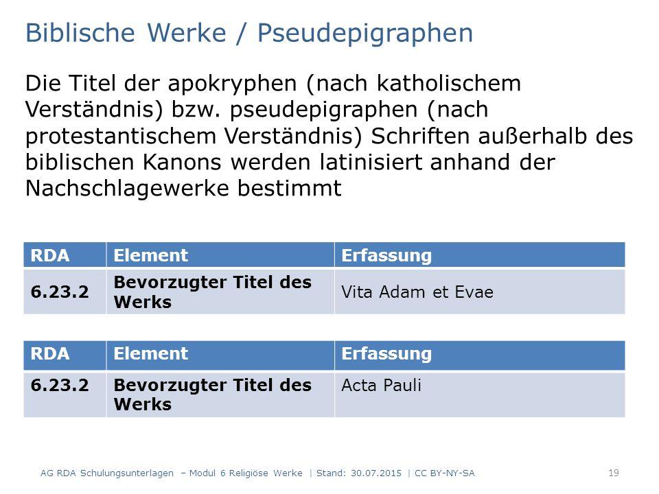 Biblische Werke / Pseudepigraphen