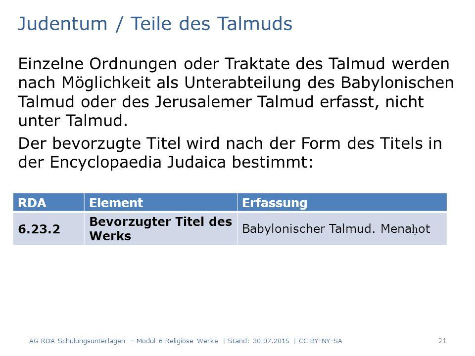 Judentum / Teile des Talmuds