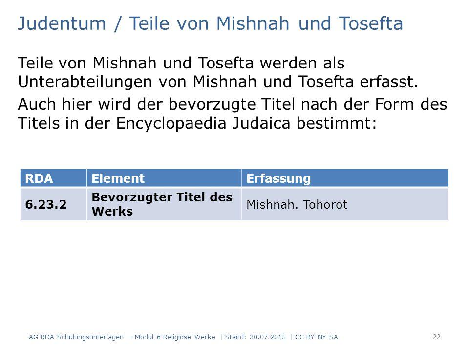 Judentum / Teile von Mishnah und Tosefta