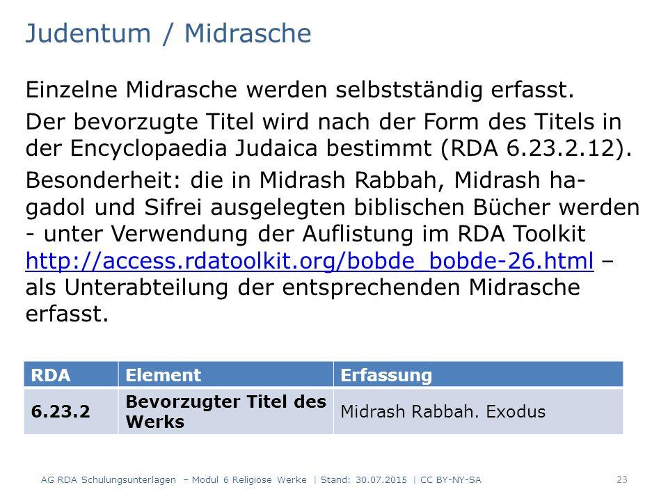 Judentum / Midrasche Einzelne Midrasche werden selbstständig erfasst.
