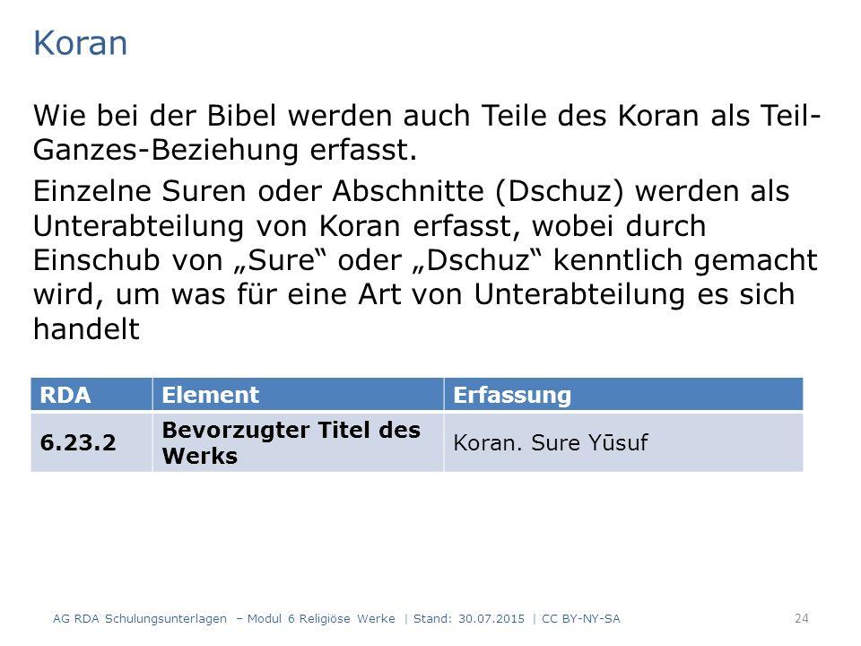 Koran Wie bei der Bibel werden auch Teile des Koran als Teil-Ganzes-Beziehung erfasst.