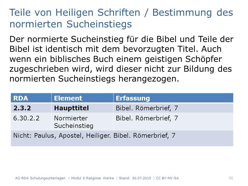 Teile von Heiligen Schriften / Bestimmung des normierten Sucheinstiegs