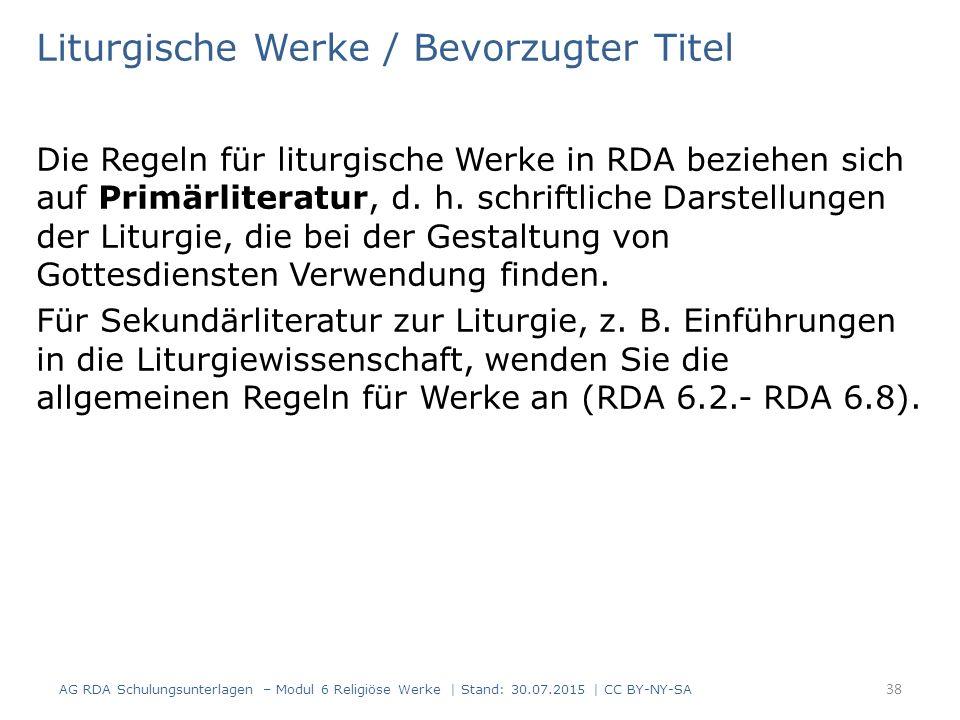 Liturgische Werke / Bevorzugter Titel