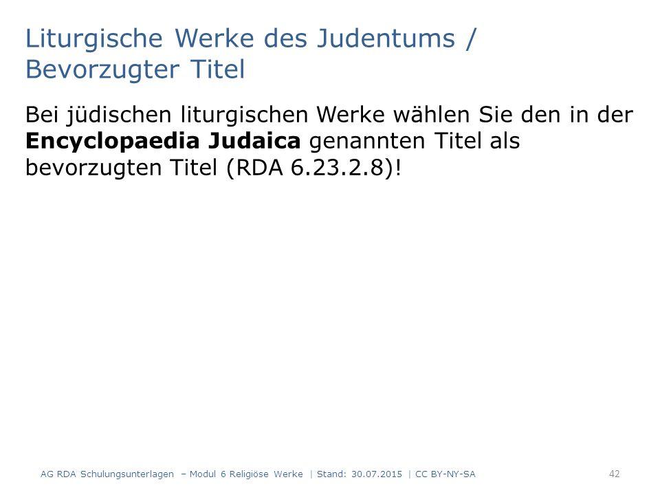 Liturgische Werke des Judentums / Bevorzugter Titel