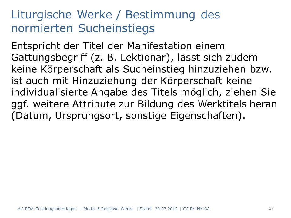 Liturgische Werke / Bestimmung des normierten Sucheinstiegs