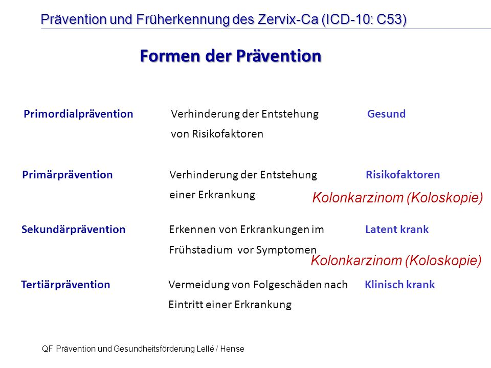 Formen der Prävention Kolonkarzinom (Koloskopie)