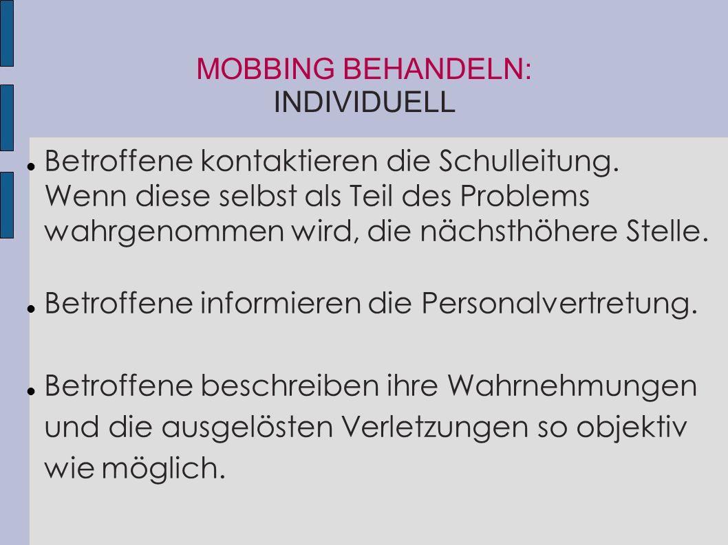MOBBING BEHANDELN: INDIVIDUELL
