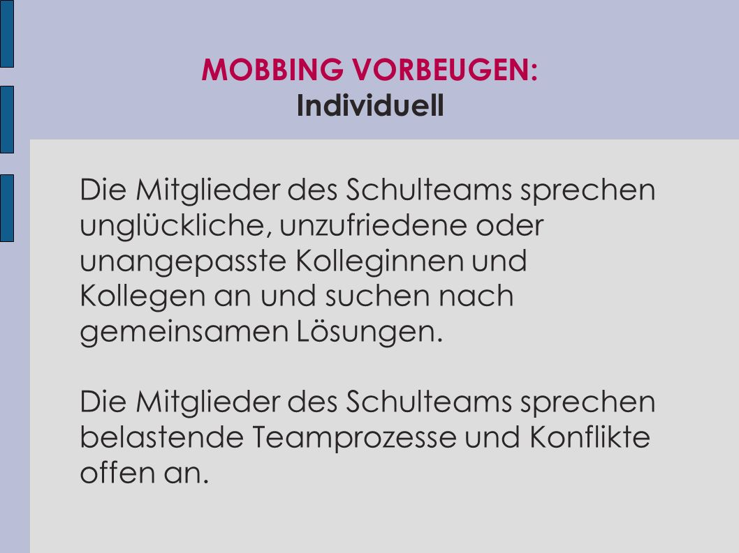 MOBBING VORBEUGEN: Individuell