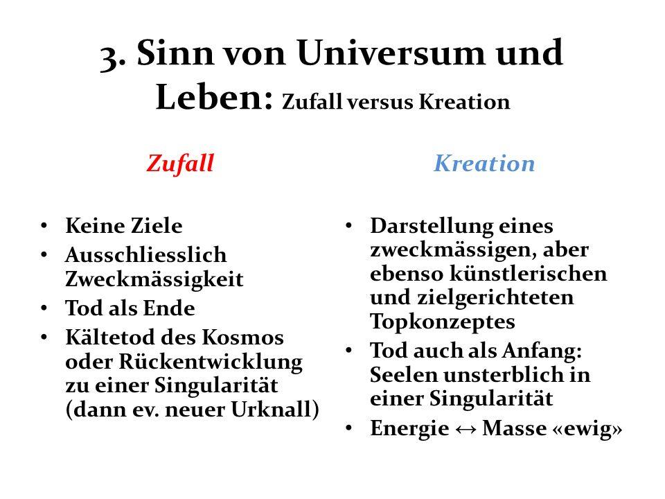 3. Sinn von Universum und Leben: Zufall versus Kreation