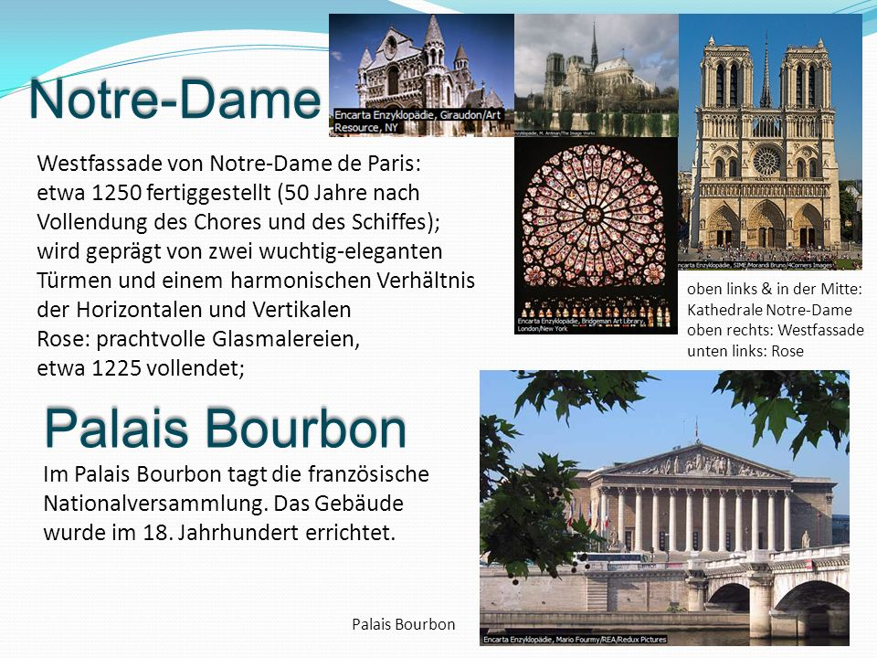 Notre-Dame Palais Bourbon Westfassade von Notre-Dame de Paris: